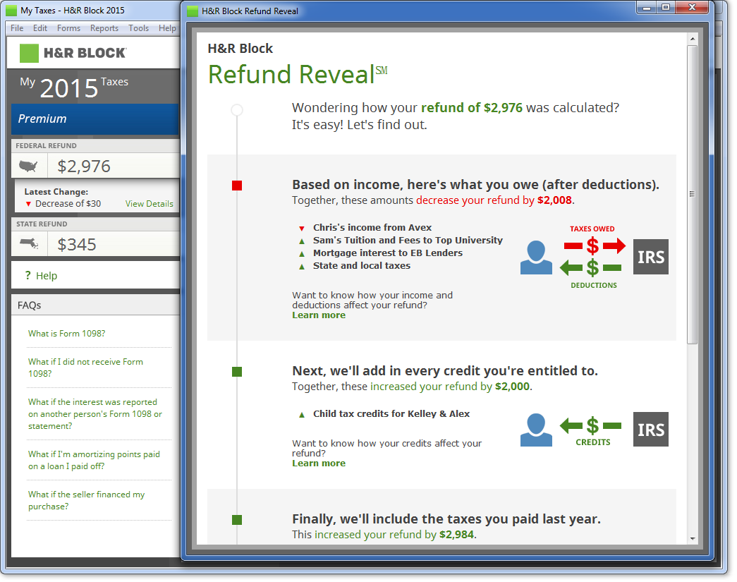 h&r block tax return review